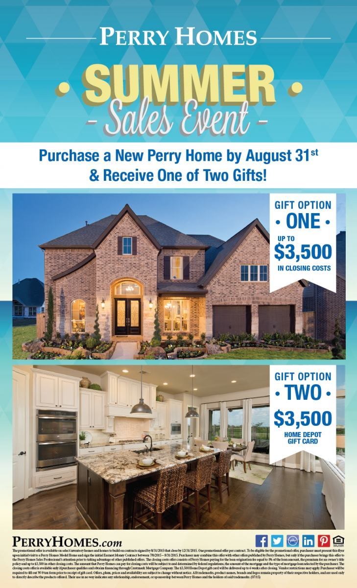 Perry homes summer sales event tavola community Gifts for home builders